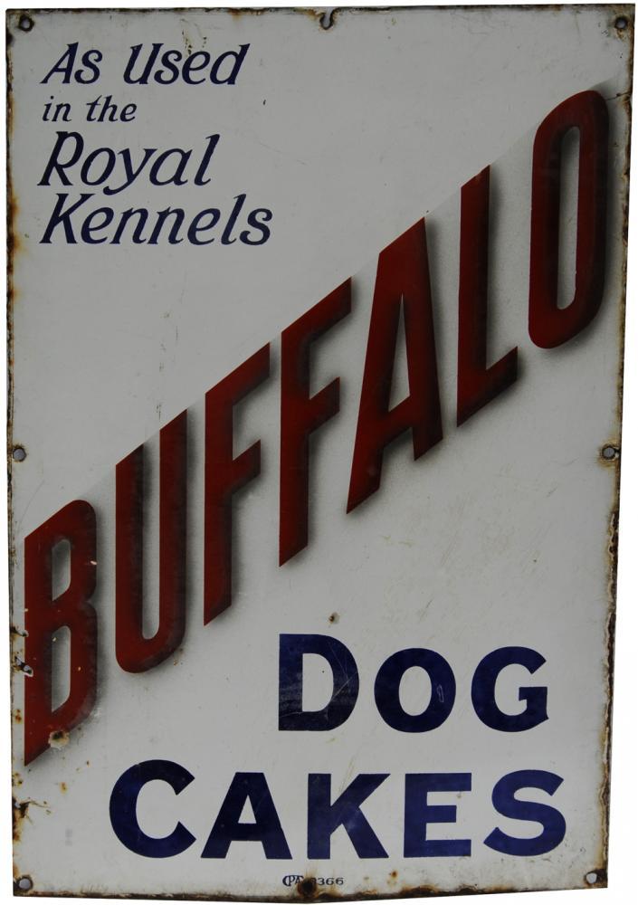 Enamel Advertising Sign 'Buffalo Dog Cakes - As