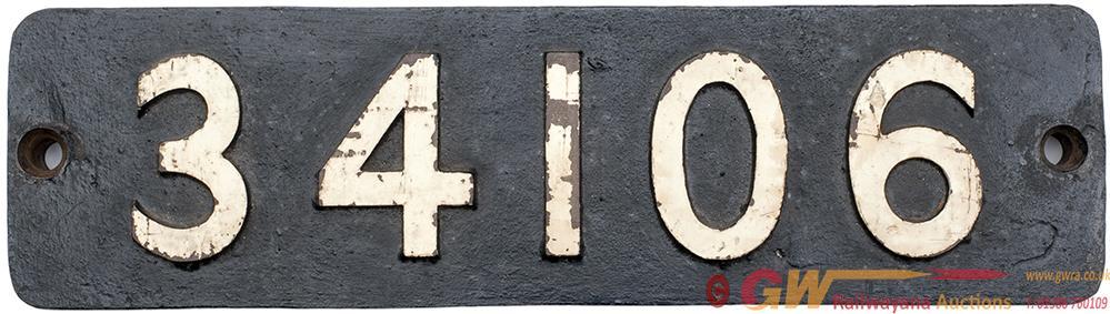 <P>Smokebox Numberplate 34106 Ex Bullied 4-6-2