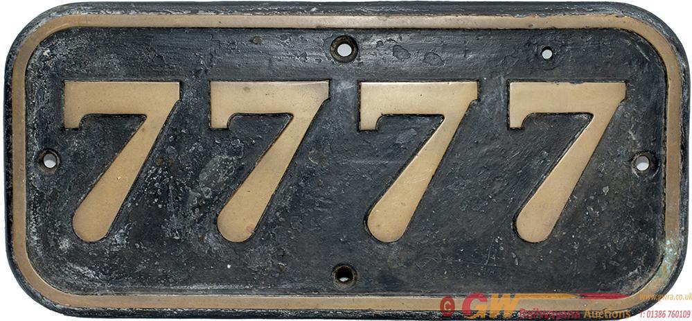 GWR Brass Cabside Numberplate 7777 Ex GWR Collett