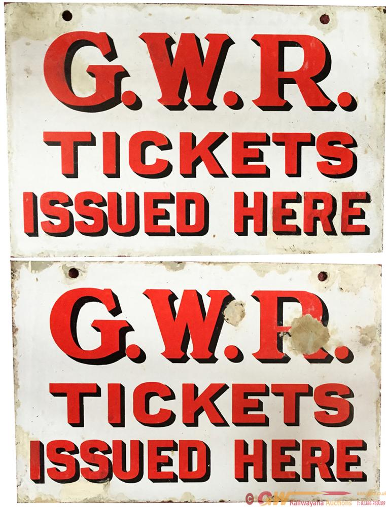 GWR Enamel Sign GWR TICKETS ISSUED HERE.  Double