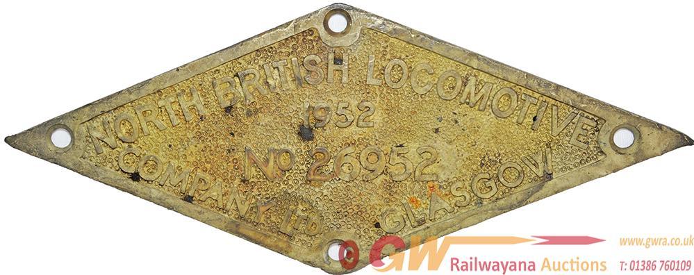 North British Locomotive Company Glasgow Brass