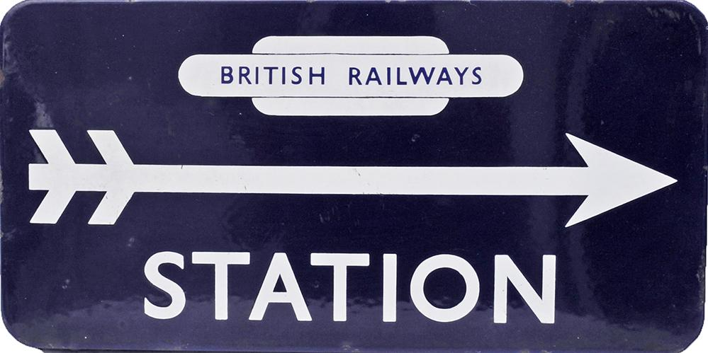 BR(E) Enamel Station Direction Sign With British
