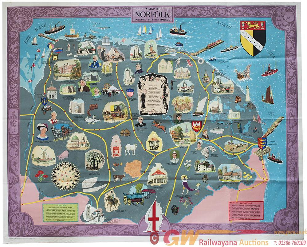 Poster BR A MAP OF NORFOLK. Quad Royal 40in X