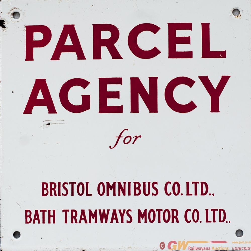 Motoring Bus Enamel Sign PARCEL AGENCY FOR BRISTOL