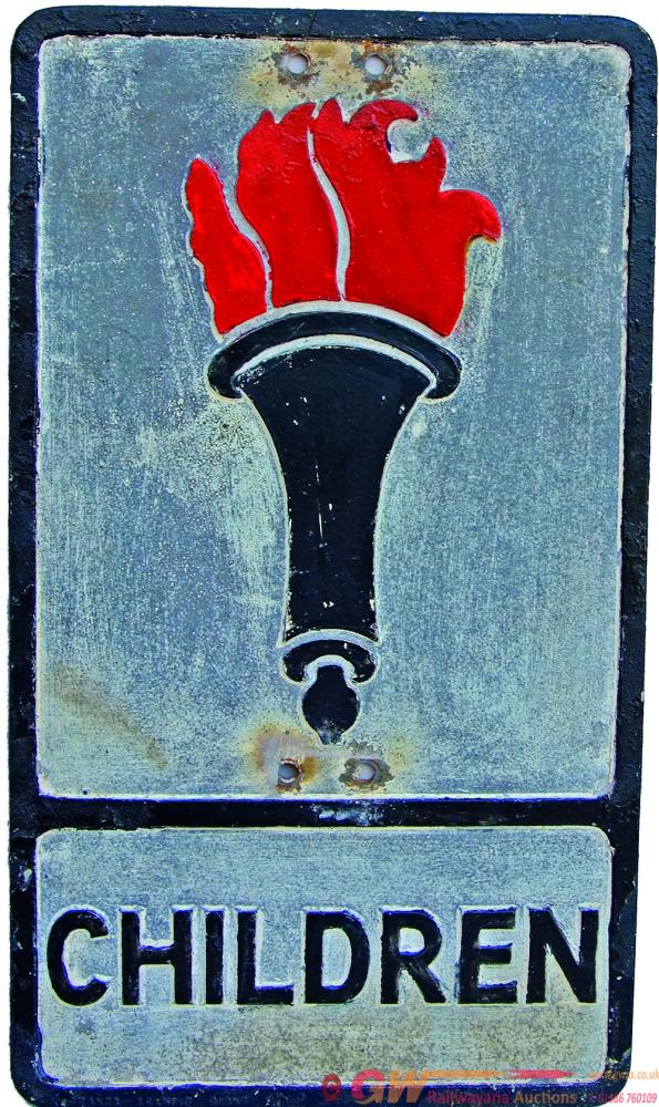 Road Sign CHILDREN Depicting The Early, 'Flaming
