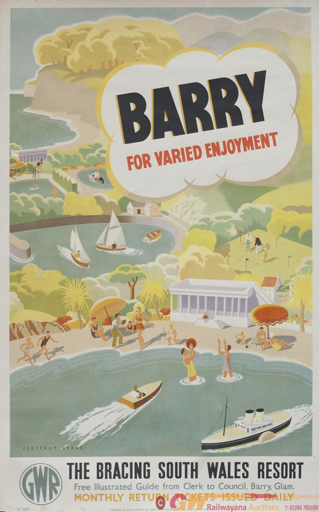 Poster GWR BARRY FOR VARIED ENJOYMENT THE BRACING