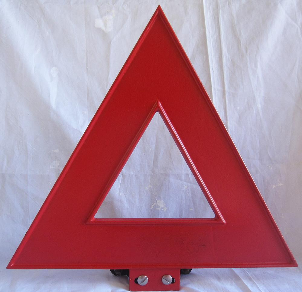1950s Alloy Red Triangle Road Sign. Complete With