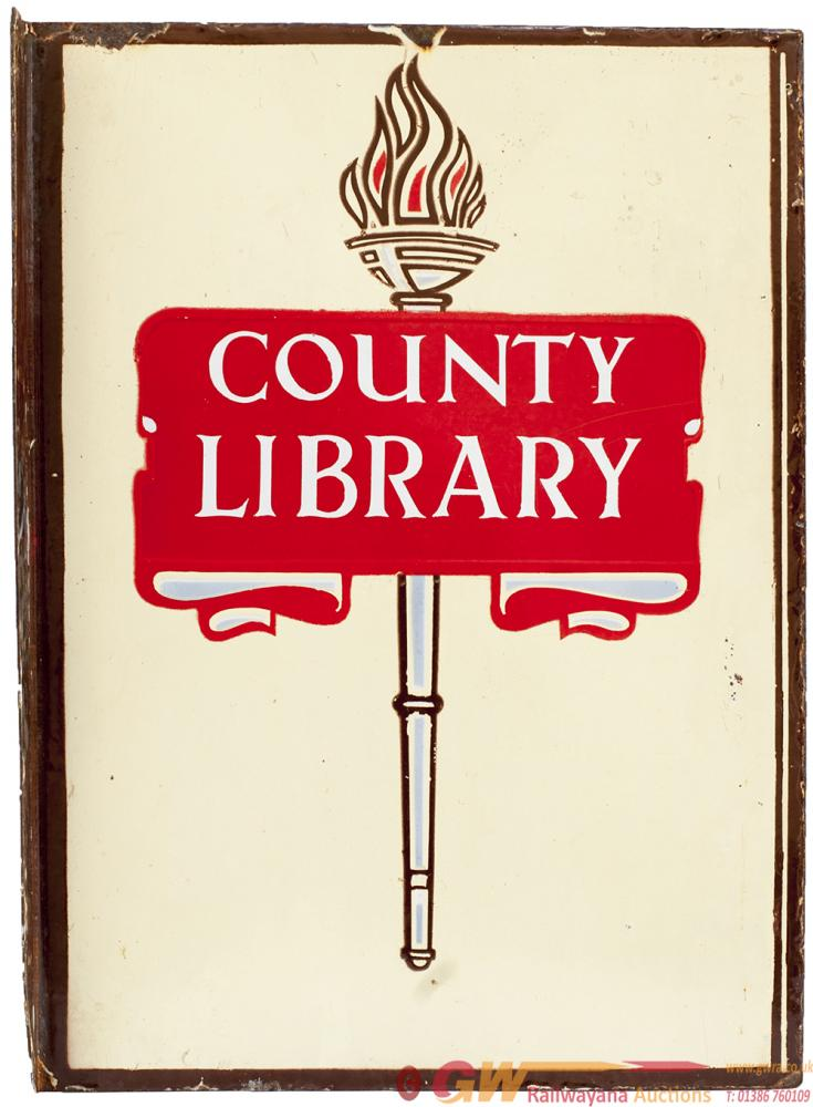 Enamel Advertising Sign COUNTY LIBRARY On One Side