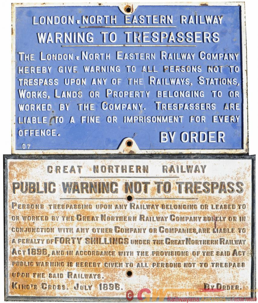 A Pair Of C/I Signs Comprising:- LNER Fully Titled