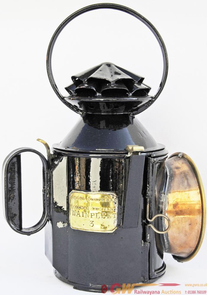 GNR Double Pie-Crust, Bullseye Lens Handlamp Brass