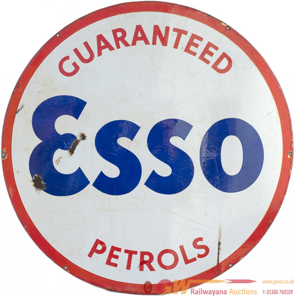 Motoring Enamel Advertising Sign GUARANTEED ESSO