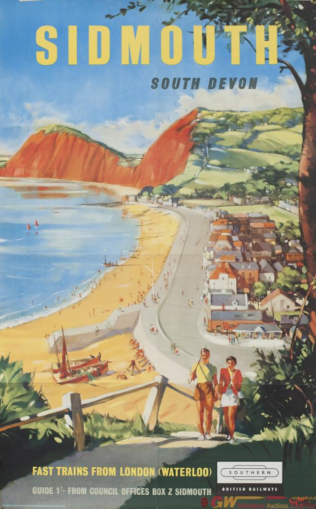 Poster BR(S) SIDMOUTH SOUTH DEVON By Sykes. Double