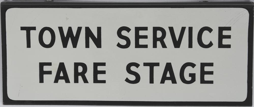 Bus Enamel Sign 'Town Service Fare Stage', Double