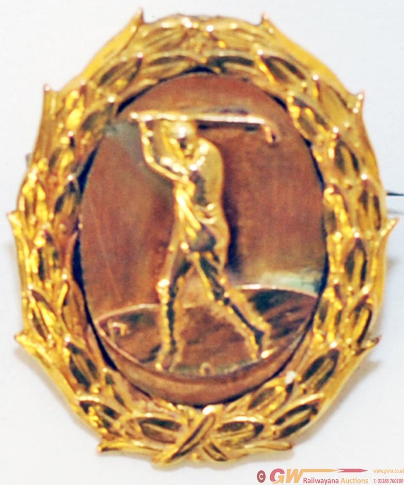 LNER Golf Club 9ct Gold Pin-Back Bisset & Stewart