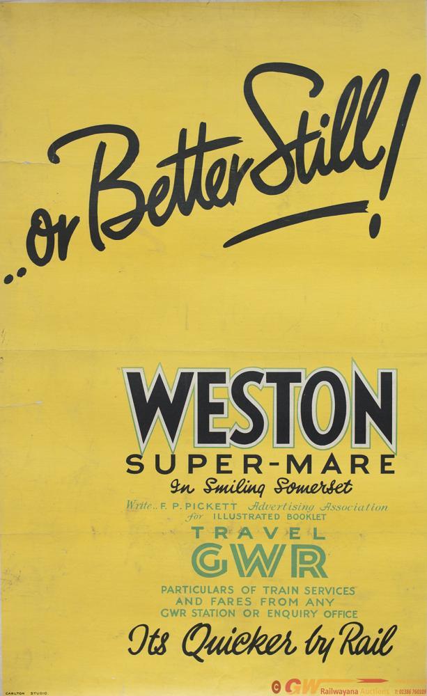 Poster GWR OR BETTER STILL! WESTON SUPER MARE