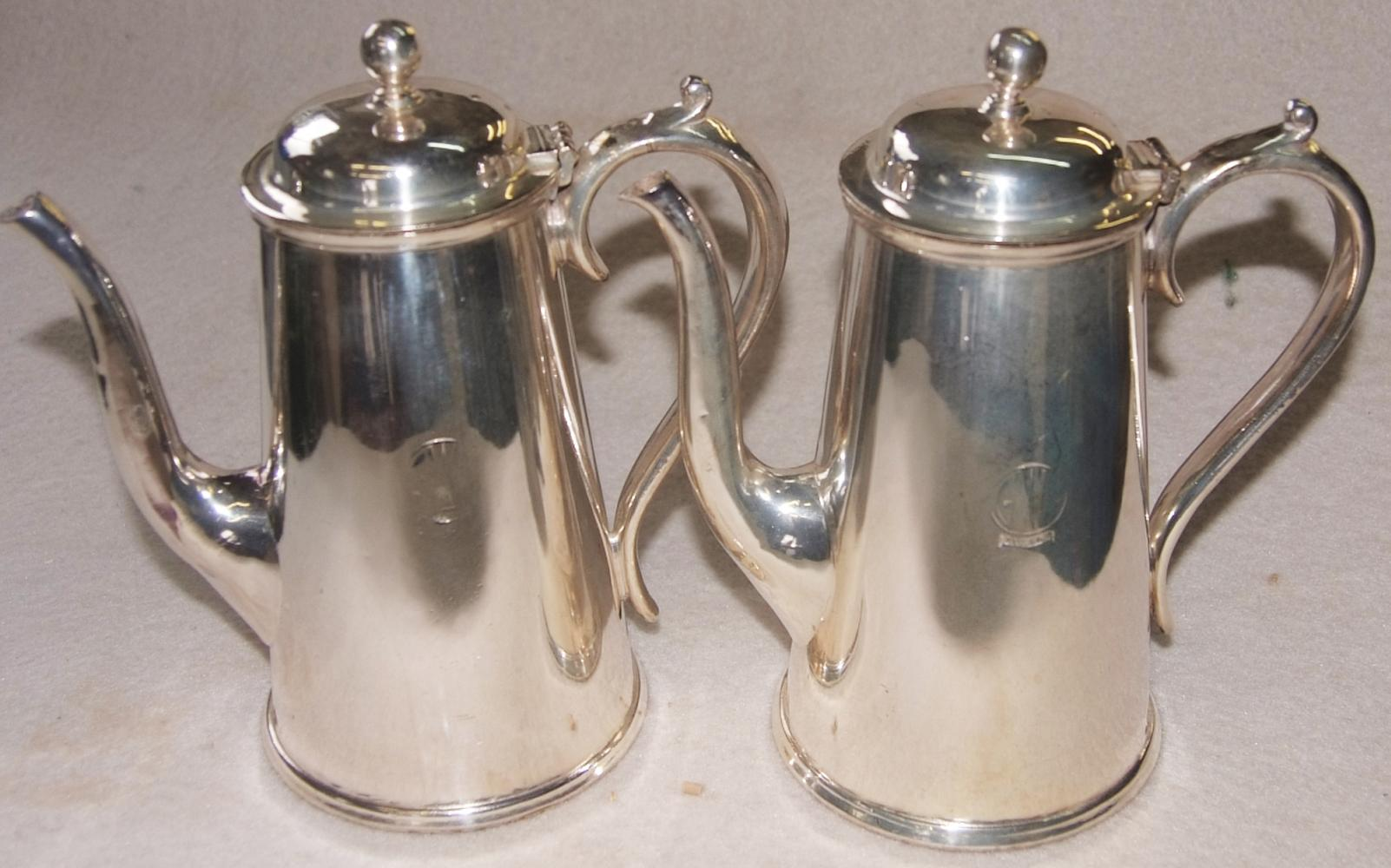 GWR, Large, 9 Tall EPNS Coffee Pots Bearing The