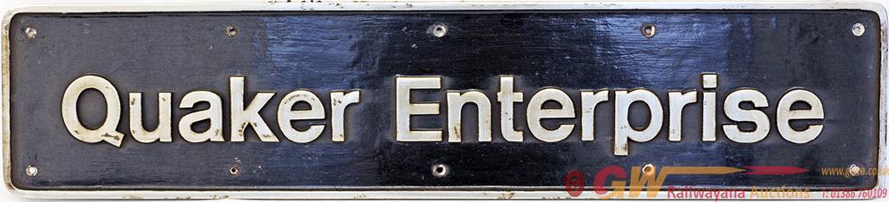 Nameplate 'Quaker Enterprise'. Ex HST Power Car