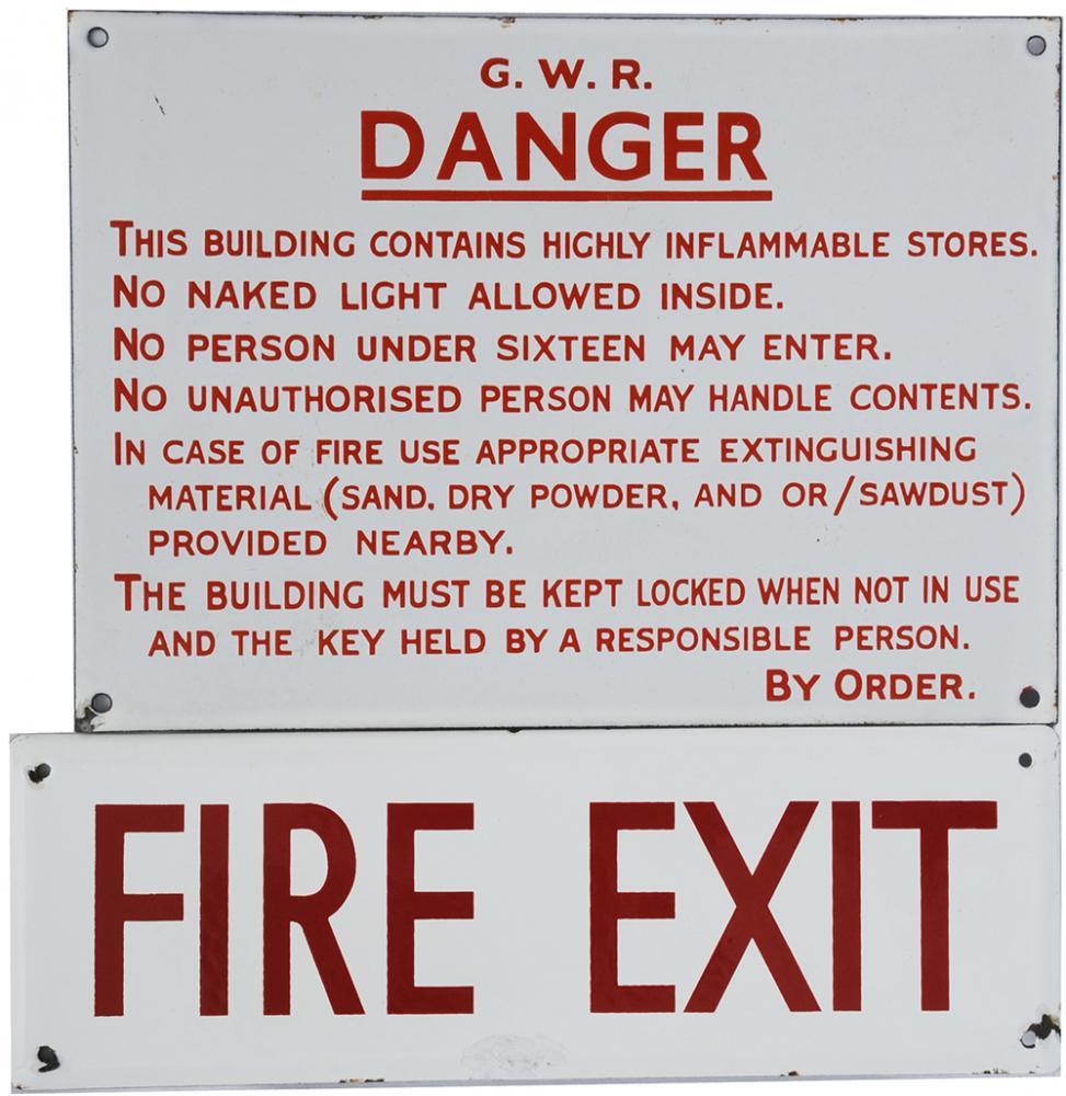 GWR Enamel Sign 'G.W.R. Danger - This Building