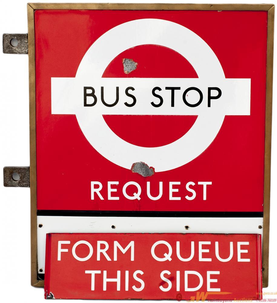 London Transport Double Sided Enamel BUS STOP