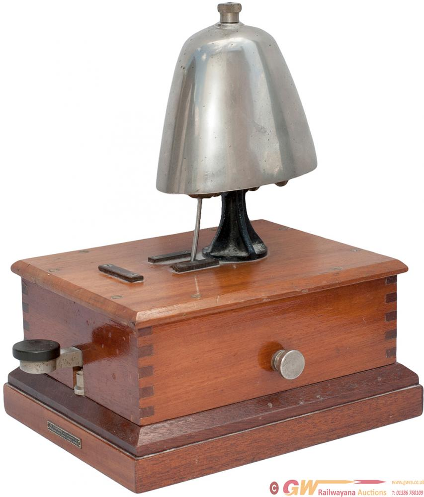 BR-W Mahogany Cased Block Bell With Cow Bell And