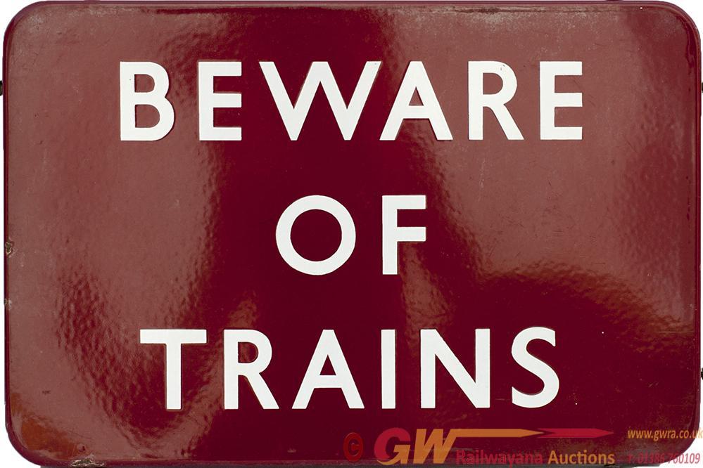BR(M) FF Enamel Sign BEWARE OF TRAINS Measuring