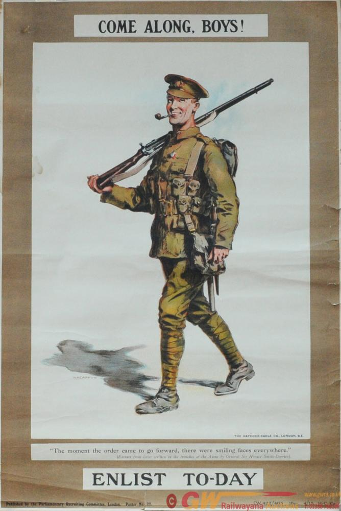 Poster World War I British Army Enlistment 'Come