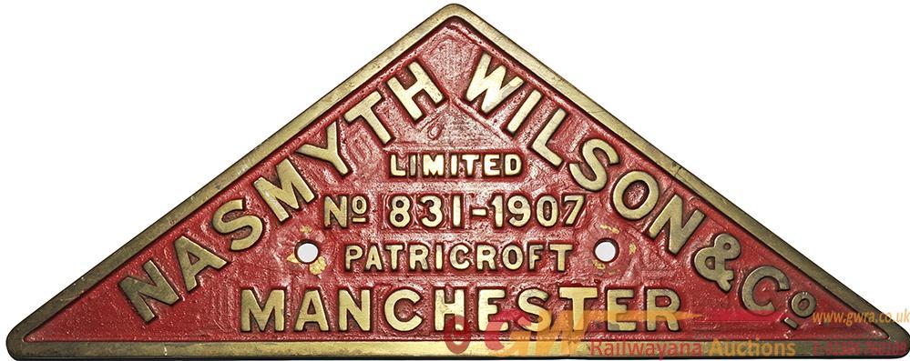 Worksplate 'Nasmyth Wilson & Co Limited No 831 -