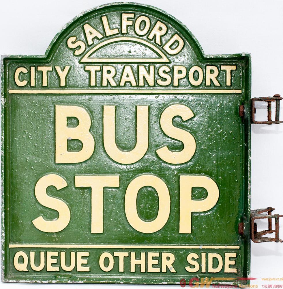 Cast Aluminium Bus Sign SALFORD CITY TRANSPORT BUS