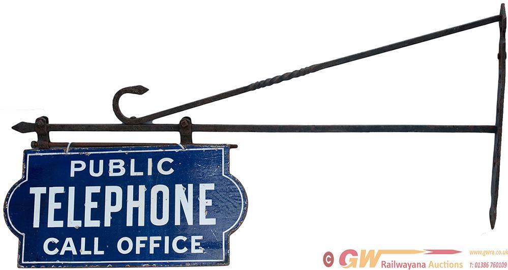 Double Sided Enamel Sign PUBLIC TELEPHONE CALL