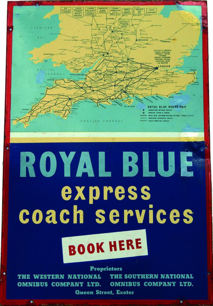 Enamel Advertising Sign For Royal Blue Coaches.