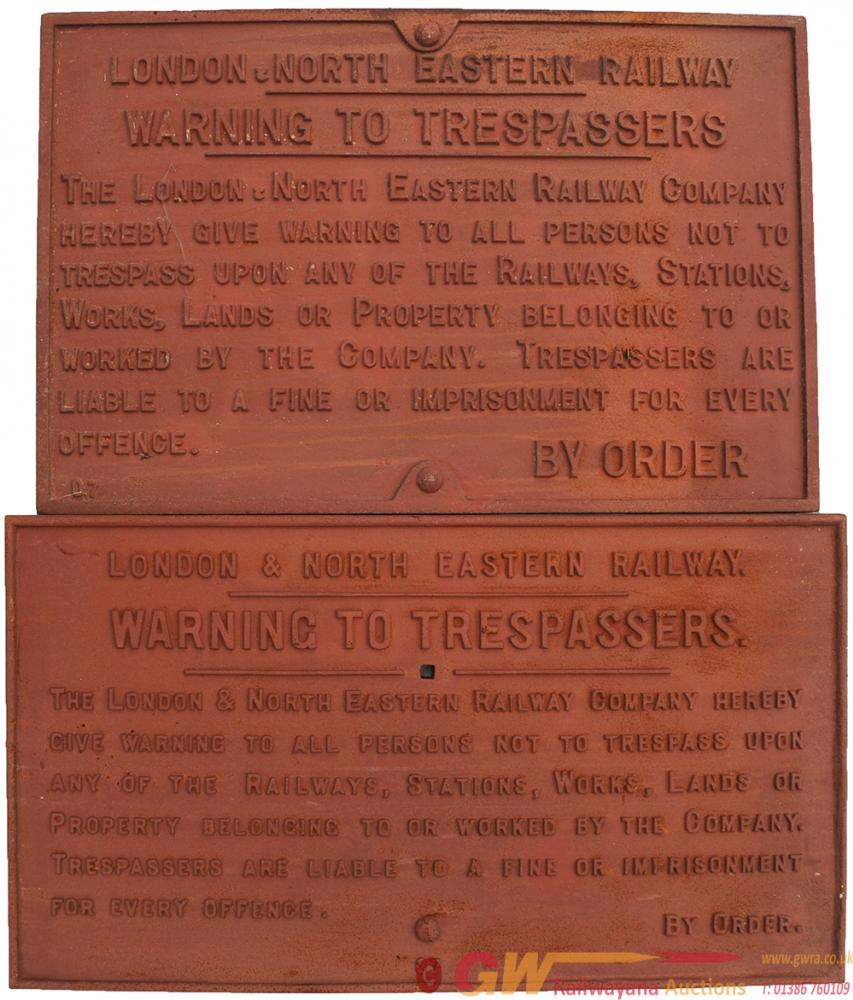 LNER Cast Iron Trespass Signs One Is The Extremely