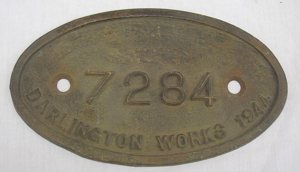 LNER 9 X 5 Tender Plate No 7284 DARLINGTON WORKS