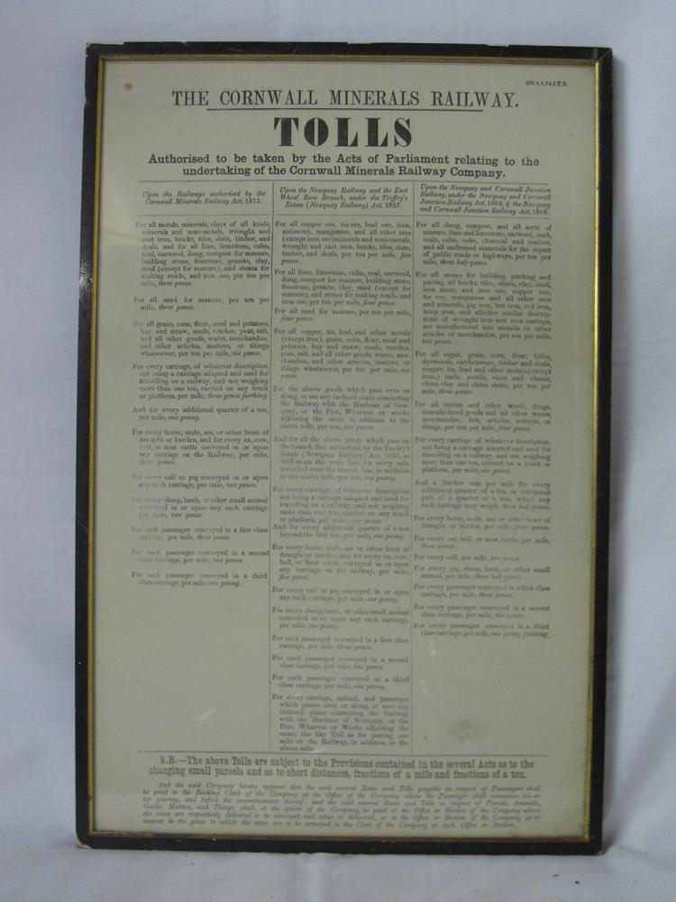 Cornwall Minerals Railway Framed Notice. TOLLS. A