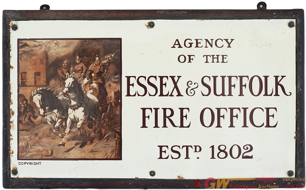 Enamel Sign AGENCY OF THE ESSEX & SUFFOLK FIRE