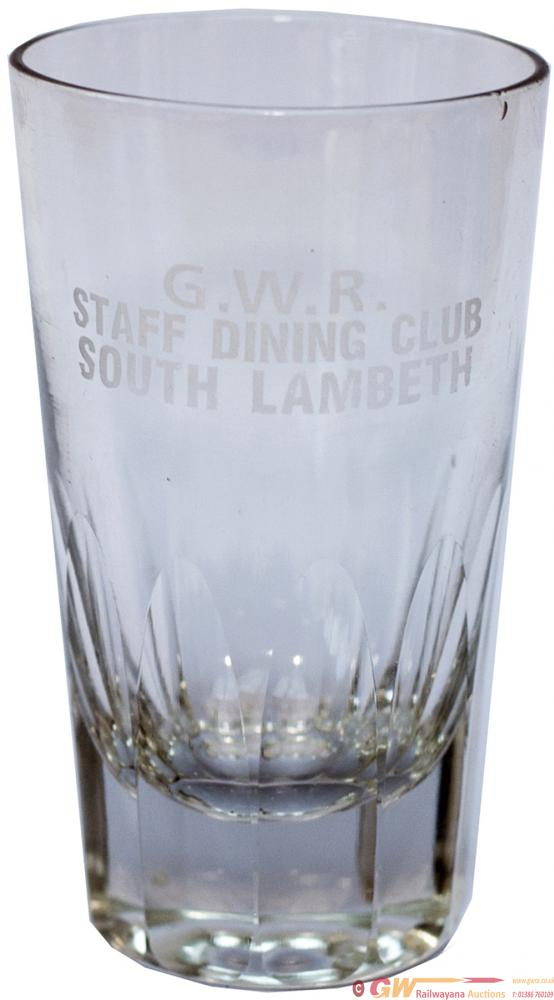 GWR Fruit Juice Glass Marked GWR STAFF DINING CLUB