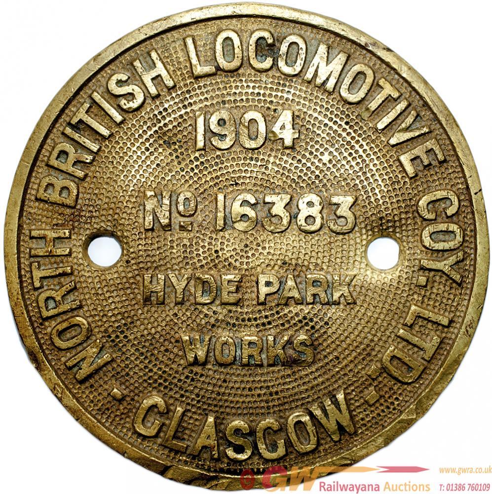 Worksplate NORTH BRITISH LOCOMOTIVE COY GLASGOW,