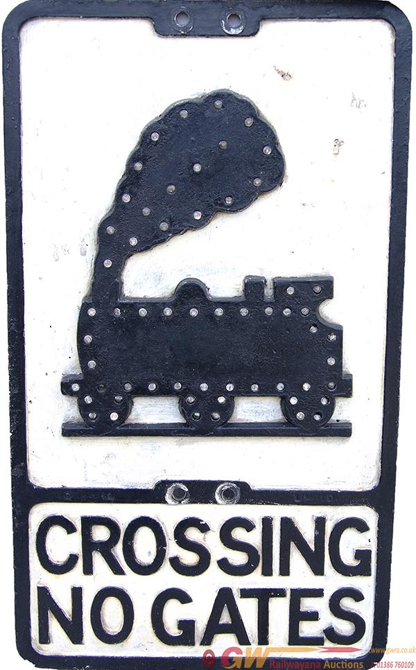 Cast Aluminium Road Sign 'Crossing No Gates' With