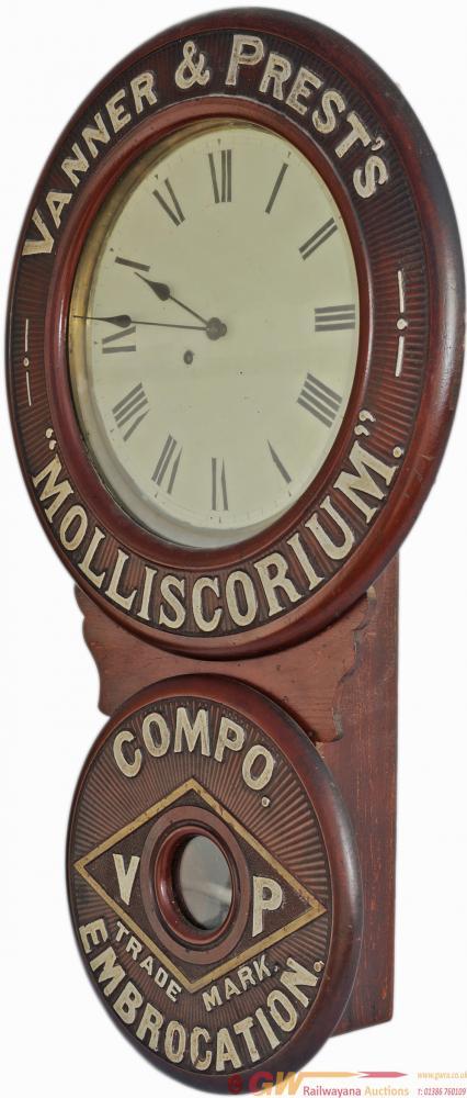 Advertising Clock VANNER & PREST'S MOLLISCORUM
