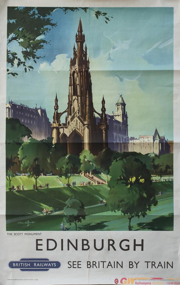 Poster BR(Sc) EDINBURGH THE SCOTT MONUMENT By