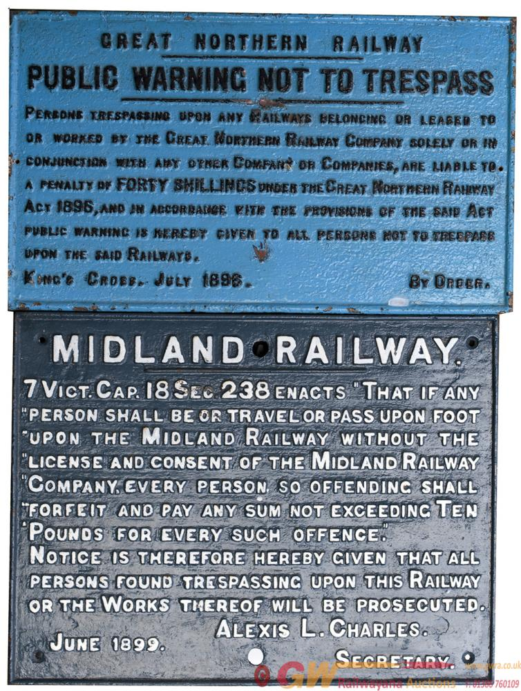 A Pair Of Railway Cast Iron Trespass Signs To