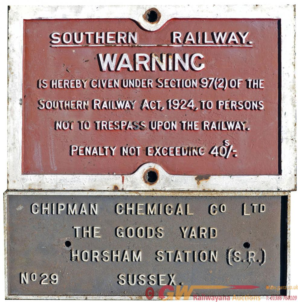 A Pair Of C/I Signs Comprising:- Southern Railway