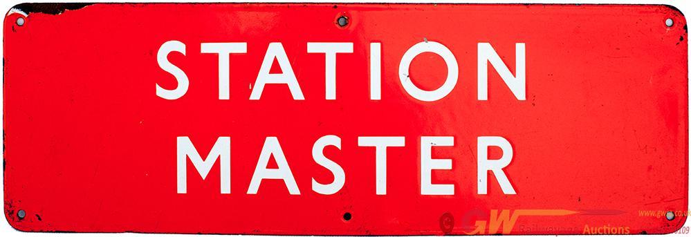Enamel Doorplate BR(NE) STATION MASTER Measuring