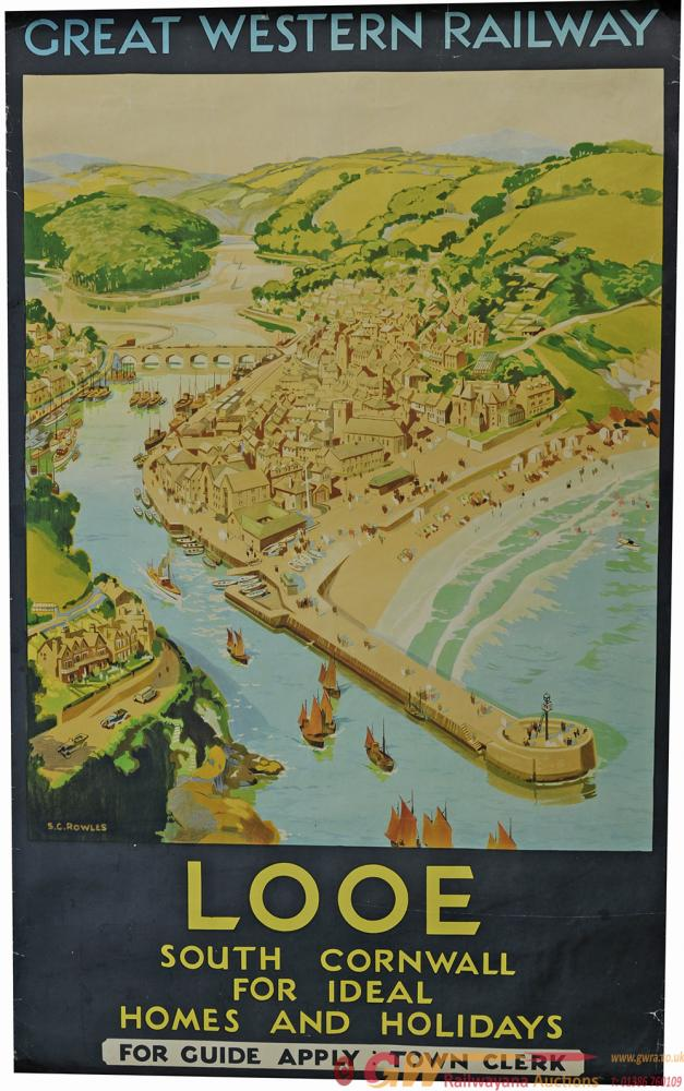 Poster GWR 'Looe South Cornwall' By S G Rowles,