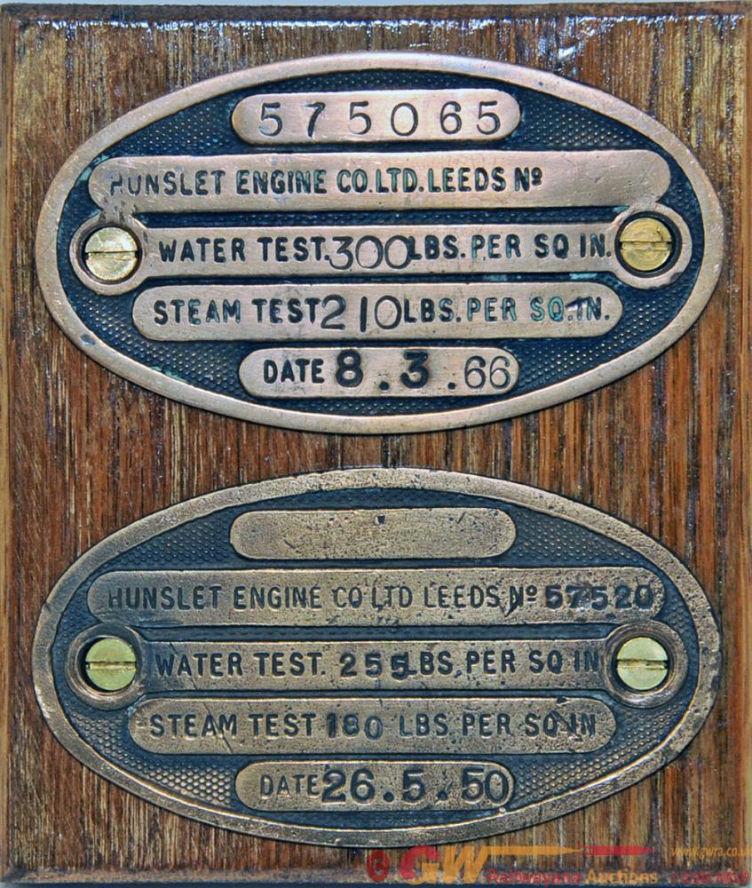 Hunslet Engine Boiler Test Plates, A Pair Dated