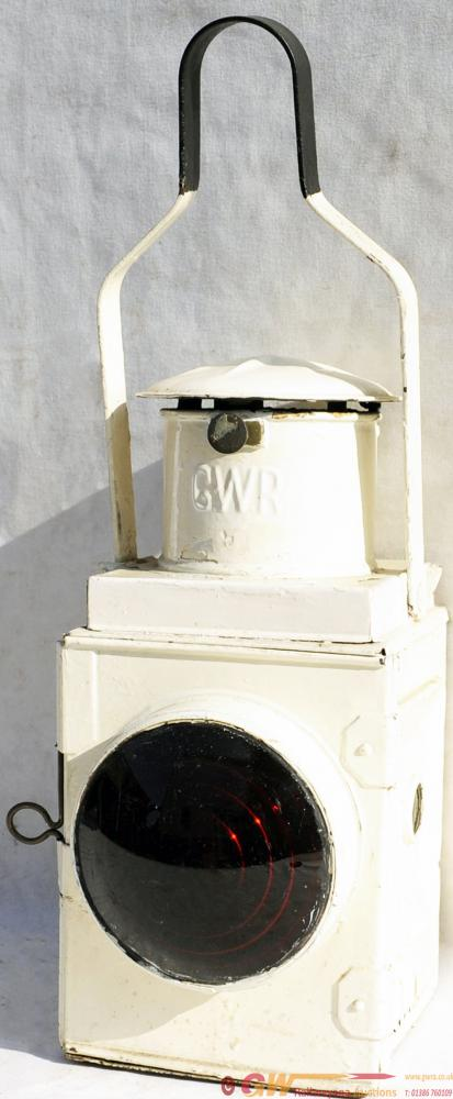 GWR White-Painted, Tail Lamp, Embossed With