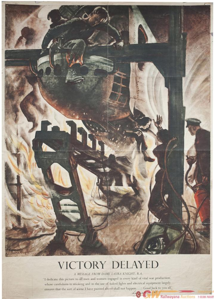 Poster ww2 VICTORY DELAYED By DAME LAURA KNIGHT