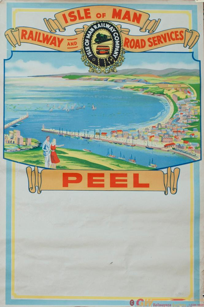 Poster ISLE OF MAN RAILWAY AND ROAD SERVICES PEEL,