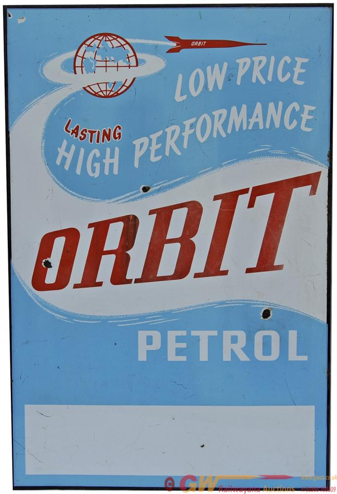 Enamel Motoring Advertising Sign 'Orbit Petrol'