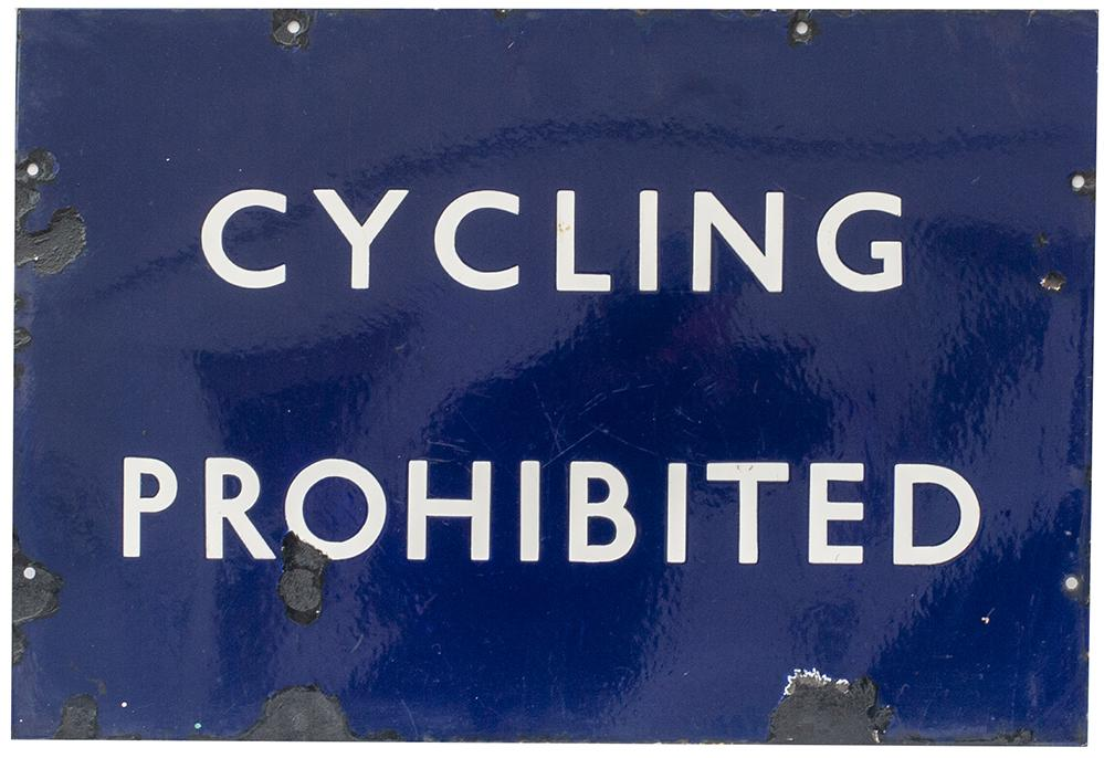 BR(E) Enamel Railway Sign CYCLING PROHIBITED. In