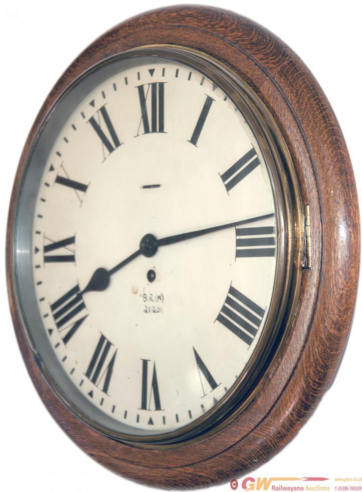 BR(M) 12in Oak Cased Railway Clock Number 21201.